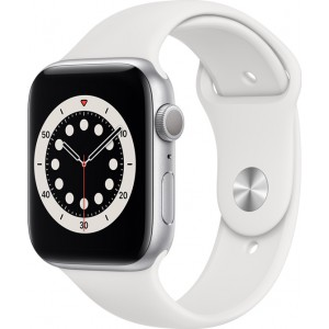 Watch Apple Watch Series 6 GPS 44mm Silver Aluminum Case with Sport Band - White EU